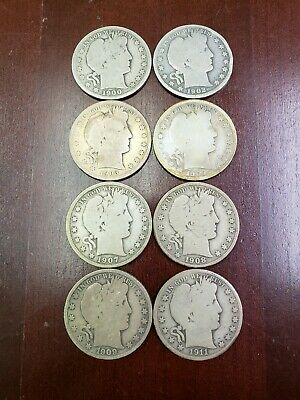 Lot of 8 barber half dollars - 90% Silver - Mixed Dates