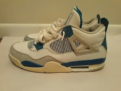 premium selection fb077 578f3 Nike Air Jordan IV 4 Retro White Military Blue-Neutral Grey Sz 13 308497