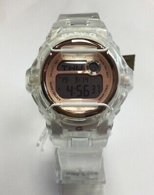 CASIO G-SHOCK Baby-G Clear Resin Rose Gold Digital Running WATCH BG169G-7B