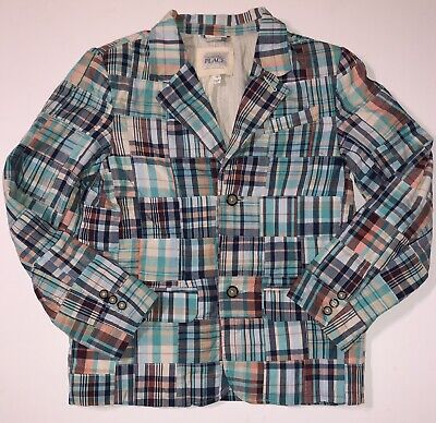 The Childrens Place Plaid Madras Patchwork Lined Blazer Jacket Boys 12 NWOT