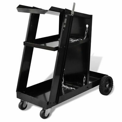Welding Cart Black Trolley with 3 Shelves Workshop Organiser H0A7