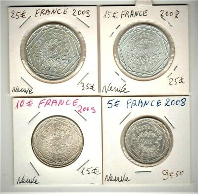 Rare Lot De 4 Pieces De 5€+10€+15€ + 25€La Semeuse France  2008 Et 2009 Argent