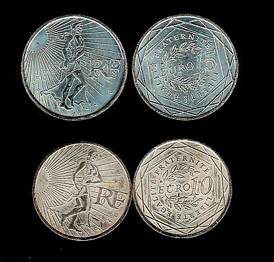 Rare Lot De 2 Pieces De 10€+15€ La Semeuse France  2008 Et 2009 Argent