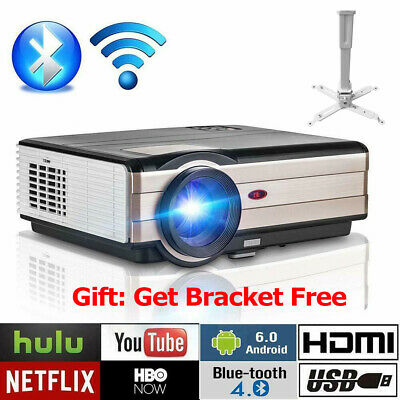 HD Android Smart Home Cinema Projector 4000Lumens Bluetooth HDMI USB 1080p+Stand