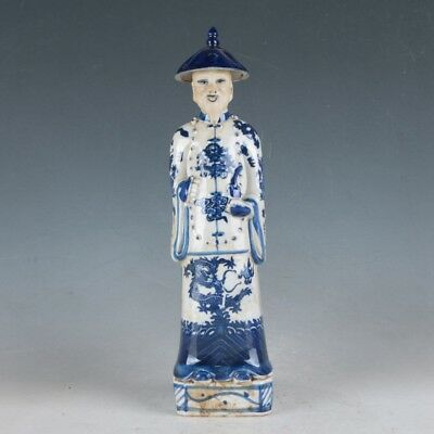 Chinese Blue and white Porcelain Handwork Carved Archaic Officials Statue