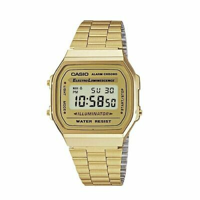 Genuine CASIO Gold Retro Classic Unisex Digital Steel Bracelet Watch-A168WA-1YES