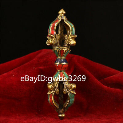 Chinese Tibetan Buddhism Pure Copper Inlaid Gems Vajra Implement