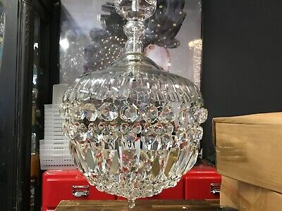 Large Rare Vintage Chandelier Hallway Pendant Dome Czech Crystal Basket Light