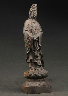 china SUPERB BIG DECORATED HANDWORK OLD EBONY WOOD CARVED KWAN-YIN SUPERB STATUE
