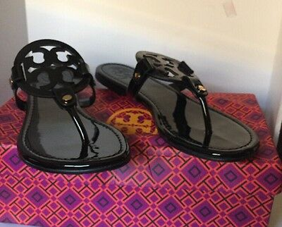 0eaaf809f165 NEW TORY BURCH Miller Sandals Black Patent Leather Shoes Size 8M ...