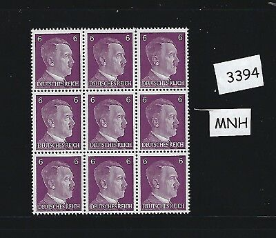 Adolph Hitler MNH stamp block of 9 / 1941, PF06 / Third Reich Germany sheet MNH