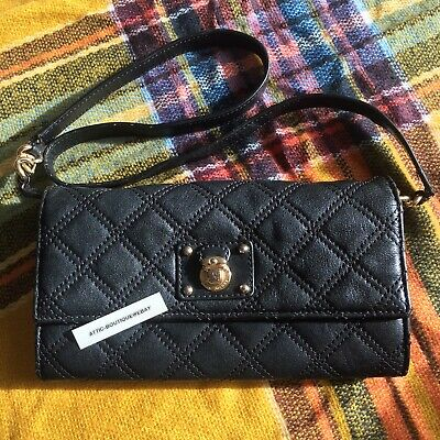 d84bbe016643 Marc Jacobs Black Lambskin Leather Quilted Clutch Wallet Shoulder Strap Snap