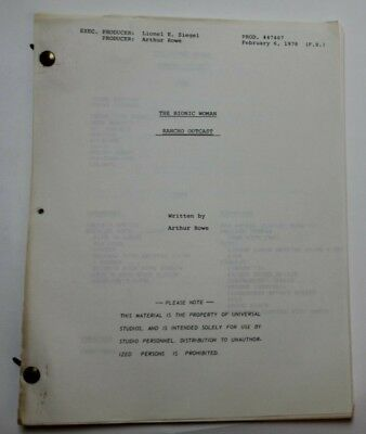 "The Bionic Woman / Arthur Rowe 1978 TV Script ""Rancho Outcast"" Hidalgo criminals"