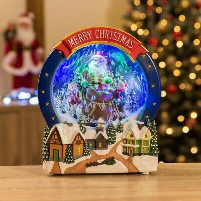 Christow LED Snowing Christmas Santa Scene Electric Musical Snowglobe Ornament