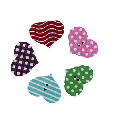 Wooden Mixed Plaid Stripe Love Heart Shapes Craft Sewing Buttons Scrapbooking B