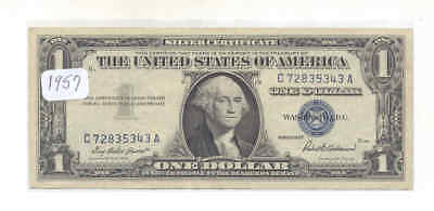 1957 $1 Fr-1619 George 5343 Washington  Blue Seal Silver Certificate Bank Note