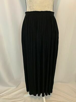 642e15344e Calvin Klein Womens New W Tag Solid Black Pleated Long Maxi Skirt Small