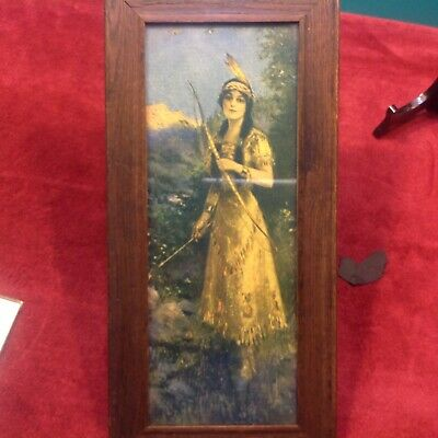 Indian Girl Print From 1920's in Original Wood Frame