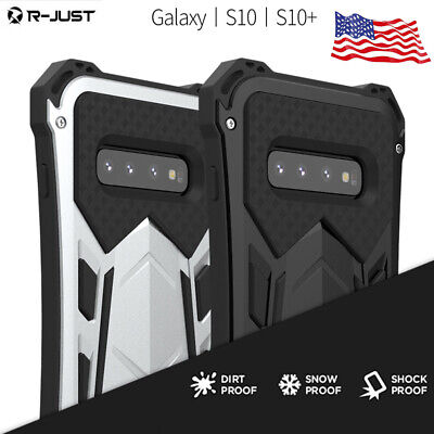 R-JUST Heavy Duty Armor Metal Phone Case Cover For Samsung Galaxy S10+ Plus/ S10