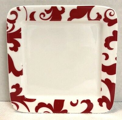 CIROA FIORI SCROLL Red & White Square Salad Dessert Appetizer Plate - 6 1/8""