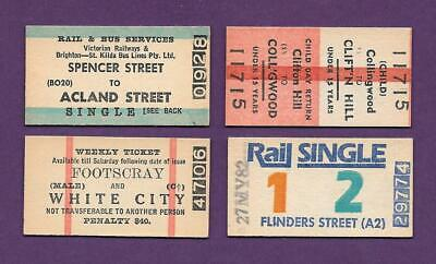 """1980's VICTORIA RAIL TICKETS """" ALL DIFFERENT """" ~ LOT OF 4 ~ GREAT CONDITION"""
