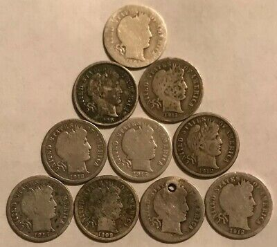 Lot of 10 Barber One Dime Dimes 90% Silver - $1.00 Face Value
