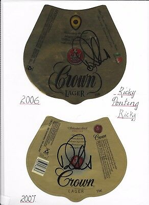 Ricky Ponting - Alan Border Medal 2006 & 2007-Signed Ltd Edition Beer Labels