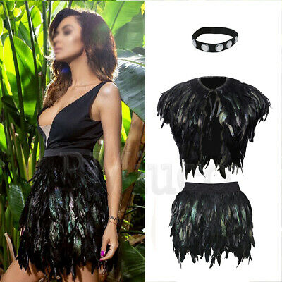 Ladies Elastic Waist Feather Mini Skirts Peacock Feather Jacket steampunk Cape