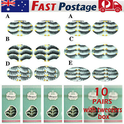 AU 10 PAIRS Mink Makeup Fake Lashes Soft Natural Thick False Eyelashes Extension