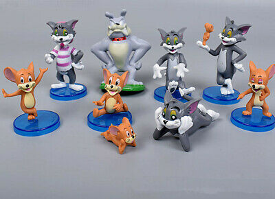 Tom And Jerry Figure Toys Cartoon Cat & Mouse Set of 9pcs Anime Cake Topper