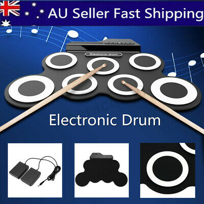 7 Pad Electronic Roll Up Drum Kit Portable Electric Drum Set Record Stick Pad AU
