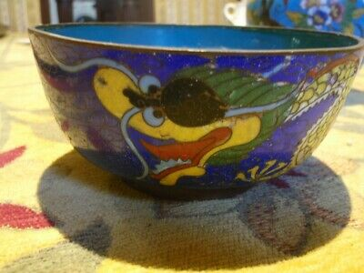 """Antique Chinese Cloisonne Bowl yellow dragon approx 2"""" by 4"""""""