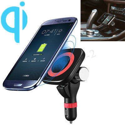 Magnetic Car Cigarette Lighter Qi Wireless Charger Mount Holder For iPhone X