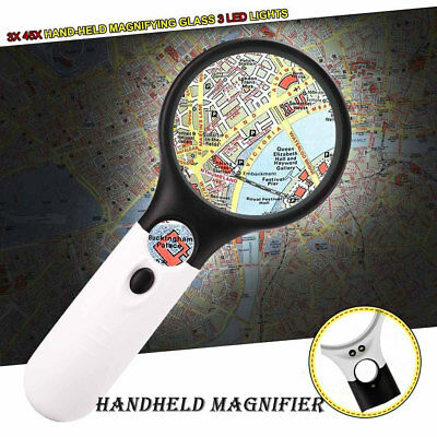45 x Handheld Magnifier Reading Magnifying Glass Jewelry Loupe With 3 LED Light
