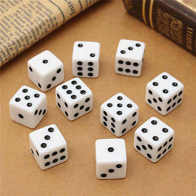 10pcs/set Six Sided Square Opaque 16mm D6 Dice White with Black Pip Die Fun DP A