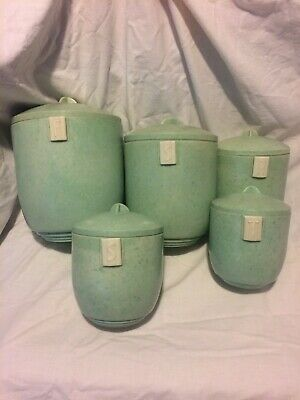 Kitchen Vintage duperite Bakelite 1940/1950S Mottled Soft Green Canisters