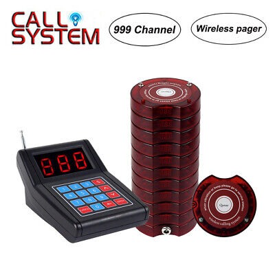 Restaurant Wireless Calling Paging System Transmitter & 10* Pager 3 Prompt modes