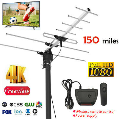 1byone 200MILES OUTDOOR TV ANTENNA MOTORIZED AMPLIFIED HIGH GAIN HDTV UHF VHF FM