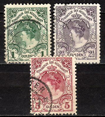 Netherlands - 1899 Definitives Wilhelmina - Mi. 63-65 A (Perf. 11) VFU