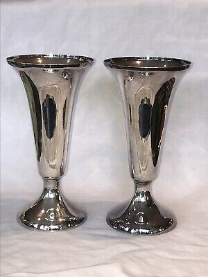 Pair Walker And Hall Silver Plate Trumpet Vases
