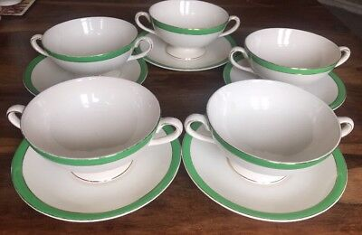 5 X Queens Green Solian Ware Small Soup Bowls / Saucers Soho Pottery England