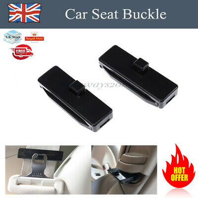 2× Black Car Seat Belt Strap Adjuster Stopper Buckle Comfort Clips Traveling