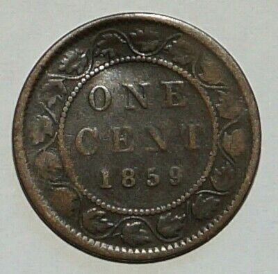Large cent  Young Victoria 1859 CANADA (9F)