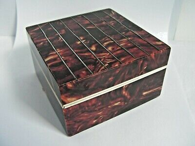 Art Deco Faux Tortoise Shell & Silver Stringing Inlay Trinket Cigarette Box