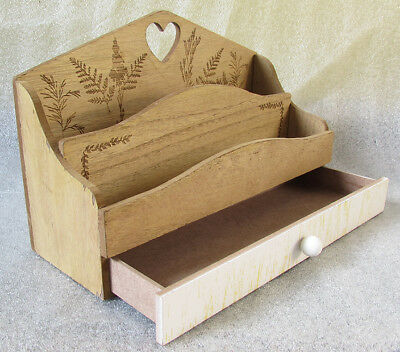Wooden Letter Rack With Drawer