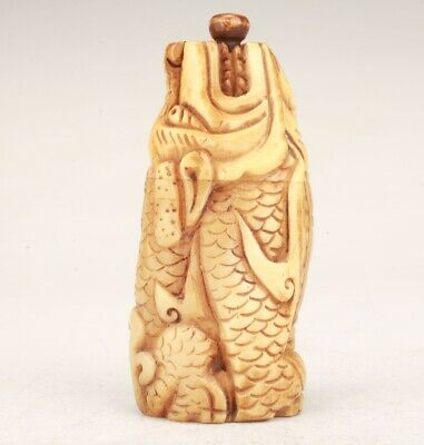 Chinese Cattle Bone Hand Carved Kirin Snuff Bottle Collection Statue