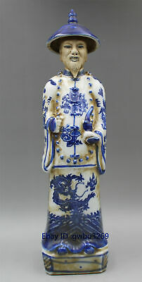 Collection Chinese Blue and White Porcelain Handwork Ancient Official Statue