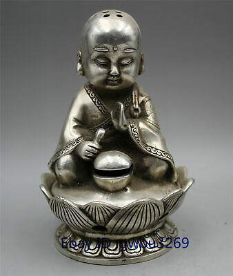 Chinese collection Tibetan silver handmade carving small monk statue incense