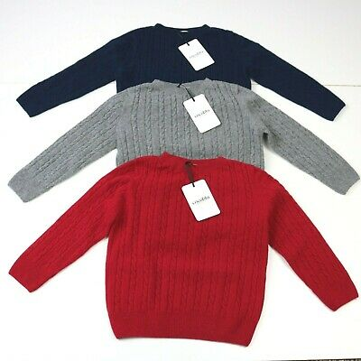 New Boy's 6mth - 4 yrs Cashmere Merino Wool Cable Knit Jumper Made in England