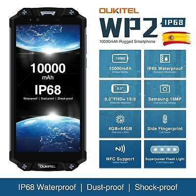 "6.0"" Oukitel WP2 Móvil Impermeable 10000mAh Octa-core CPU 4GB+64GB Android 8.0"